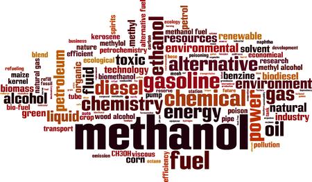 Methanol word cloud concept. Vector illustration