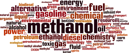 biogas: Methanol word cloud concept. Vector illustration
