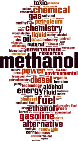 Methanol word cloud concept. Vector illustration
