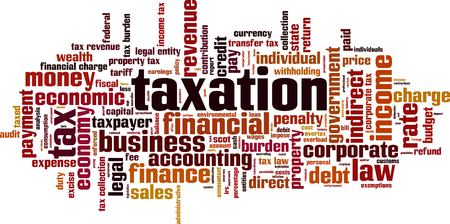 indirect: Taxation word cloud concept. Vector illustration Illustration