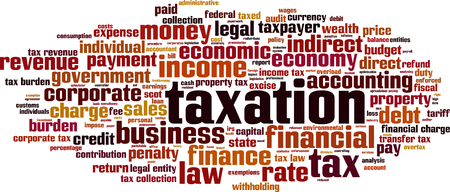 scot: Taxation word cloud concept. Vector illustration Illustration