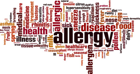 allergenic: Allergy word cloud concept. Vector illustration