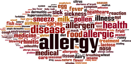 hay fever: Allergy word cloud concept. Vector illustration