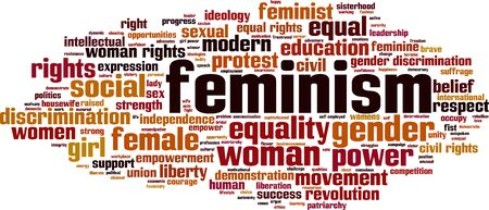 liberation: Feminism word cloud concept. Vector illustration Illustration