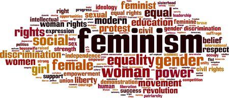 civil rights: Feminism word cloud concept. Vector illustration Illustration