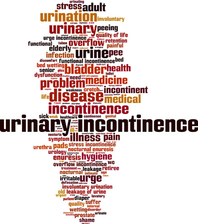 wetting: Urinary incontinence word cloud concept. Vector illustration