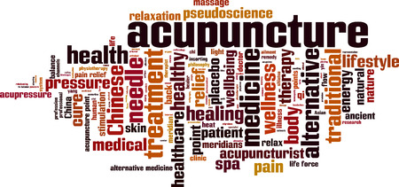healing with chi: Acupuncture word cloud concept. Vector illustration