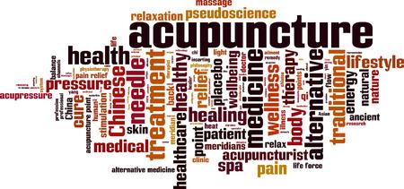 qi: Acupuncture word cloud concept. Vector illustration