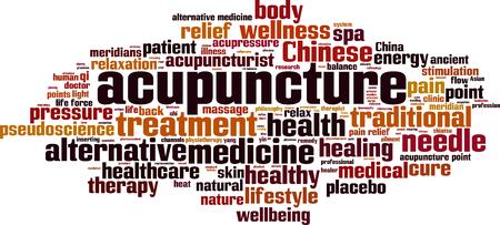 mot, nuage, concept d'acupuncture. Vector illustration