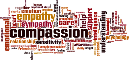somatic: Compassion word cloud concept. Vector illustration