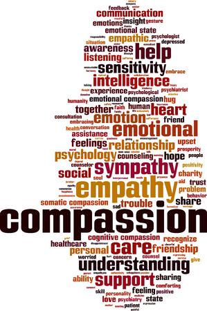 La compasión palabra nube concepto. ilustración vectorial