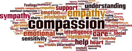 compassion: Compassion word cloud concept. Vector illustration