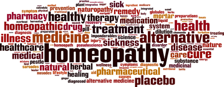 pseudoscience: Homeopathy word cloud concept. Vector illustration Illustration