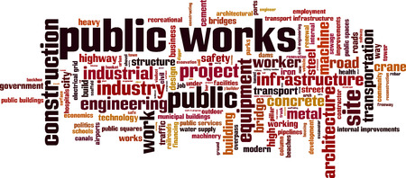 works: Public works word cloud concept. Vector illustration