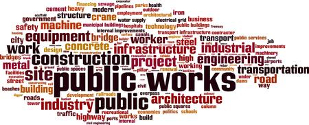 sewage: Public works word cloud concept. Vector illustration