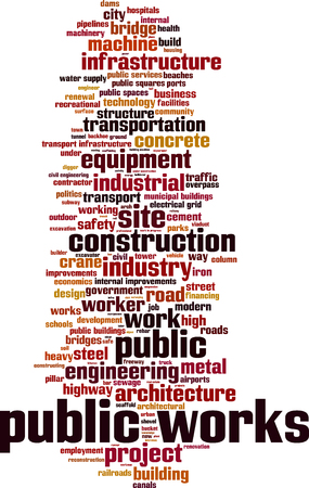 public services: Public works word cloud concept. Vector illustration