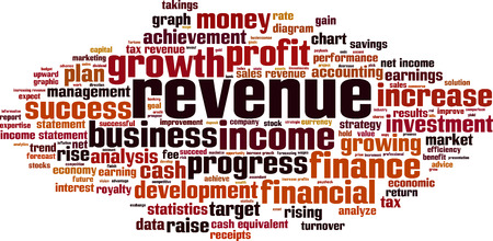 takings: Revenue word cloud concept. Vector illustration Illustration
