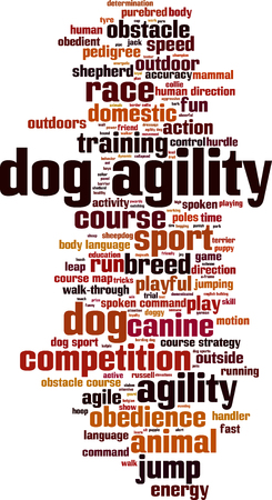 trail running: Dog agility word cloud concept. Vector illustration
