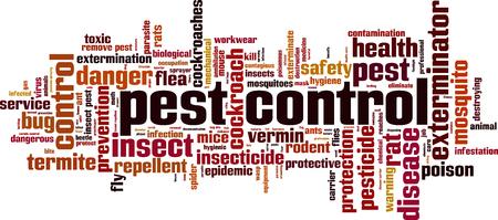 El control de plagas concepto de nube de palabras. ilustración vectorial