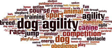Dog agility word cloud concept. Vector illustration