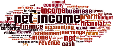 Net income word cloud concept. Vector illustration