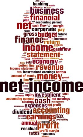retained: Net income word cloud concept. Vector illustration
