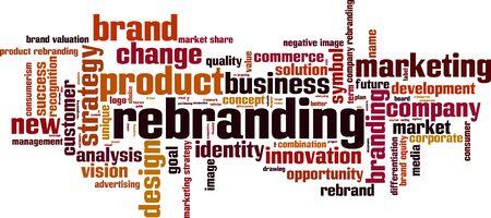 posicionamiento de marca: Palabra nube concepto de cambio de marca. ilustración vectorial