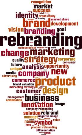 Palabra nube concepto de cambio de marca. ilustración vectorial