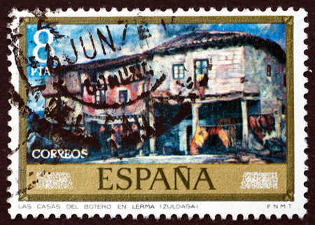 ignacio: SPAIN - CIRCA 1971: a stamp printed in the Spain shows Cobblers Houses at Lerma, Painting by Ignacio Zuloaga, circa 1971