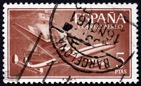 caravelle: SPAIN - CIRCA 1956: a stamp printed in the Spain shows Plane and Caravel, circa 1956