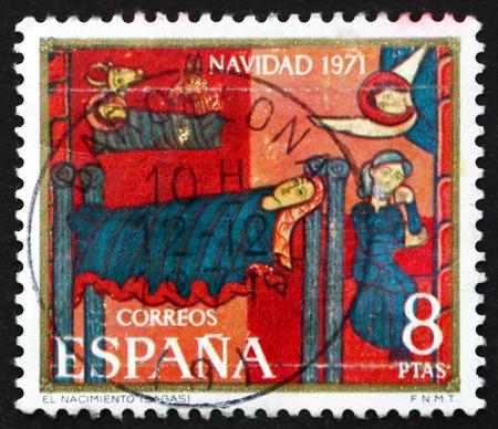 altarpiece: SPAIN - CIRCA 1971: a stamp printed in the Spain shows Sagas Altarpiece, Nativity, circa 1971