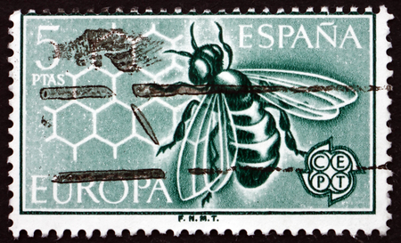 spaniard: SPAIN - CIRCA 1962: a stamp printed in the Spain shows Bee and Honeycomb, circa 1962 Editorial