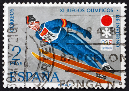 olympic games: SPAIN - CIRCA 1972: a stamp printed in the Spain shows Ski Jumping, 11th Winter Olympic Games, Saporo, Japan,  circa 1972 Editorial