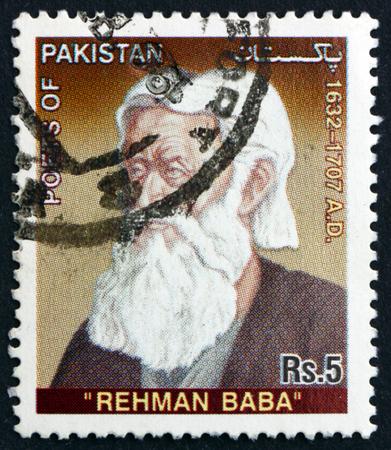mughal empire: PAKISTAN - CIRCA 2005: a stamp printed in Pakistan shows Abdul Rahman Baba, was a Pashtun Poet from Peshawar in the Mughal Empire, Pakistan, circa 2005 Editorial