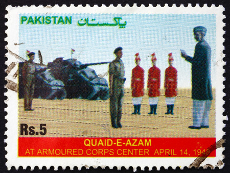 corps: PAKISTAN - CIRCA 2006: a stamp printed in Pakistan shows Mohammed Ali Jinnah, Soldiers and Tanks, circa 2006