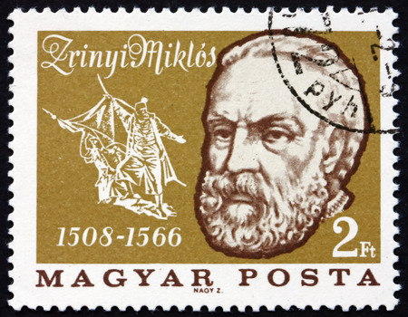 statesman: HUNGARY - CIRCA 1966: a stamp printed in Hungary shows Miklos Zrinyi or Nikola Zrinski, was a Croatian and Hungarian Military Leader, Statesman and Poet, Hero of Turkish Wars, circa 1966