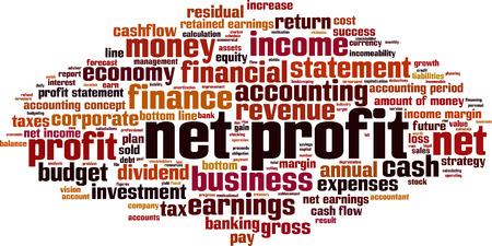 residual income: Net profit word cloud concept. Vector illustration