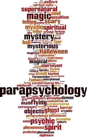 extrasensory: Parapsychology word cloud concept. Vector illustration