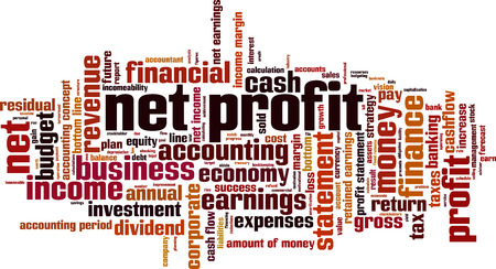 net income: Net profit word cloud concept. Vector illustration