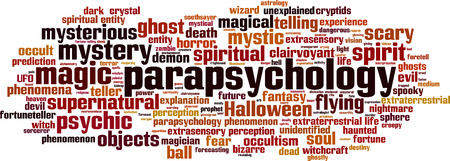 extrasensory: Parapsychology word cloud concept.