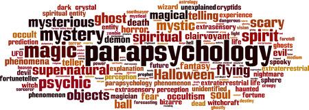 Parapsychology word cloud concept.