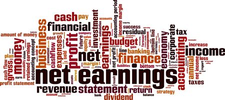 retained: Net earnings word cloud concept. Vector illustration