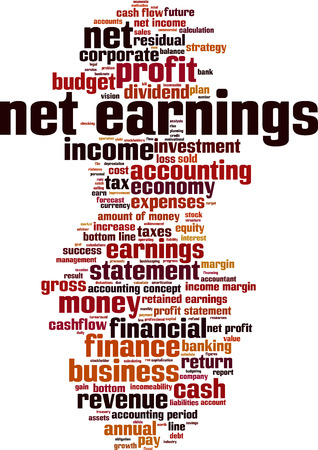earnings: Net earnings word cloud concept. Vector illustration