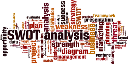 swot analysis: SWOT analysis word cloud concept. Vector illustration