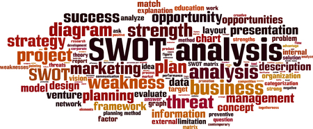 strengths: SWOT analysis word cloud concept. Vector illustration