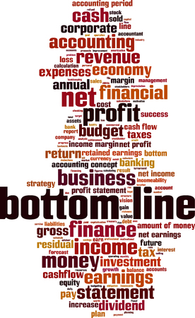 at the bottom of: Bottom line word cloud concept. Vector illustration Illustration