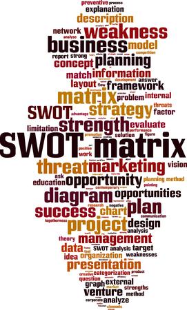 swot: SWOT matrix word cloud concept. Vector illustration