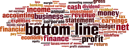 net income: Bottom line word cloud concept. Vector illustration Illustration