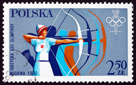 the olympic games: POLAND - CIRCA 1980: a stamp printed in the Poland shows Archery, 22nd Summer Olympic Games, Moscow, circa 1980