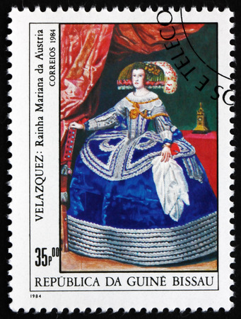 velazquez: GUINEA-BISSAU - CIRCA 1984: a stamp printed in Guinea-Bissau shows Queen Maria of Austria, Painting by Velazquez, circa 1984 Editorial